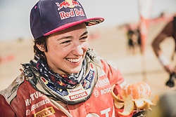 Anastasiya Nifontova of Nifontova 13 Team at the finish line after the last stage of Rally Dakar 2019 from Pisco to Lima, Peru on January 17, 2019. // Flavien Duhamel/Red Bull Content Pool // AP-1Y5HFUKPW2111 // Usage for editorial use only // Please go to www.redbullcontentpool.com for further information. //