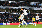 Derby County defender Jayden Bogle (37) heads the ball during the EFL Sky Bet Championship match between Derby County and Millwall at the Pride Park, Derby, England on 14 December 2019.