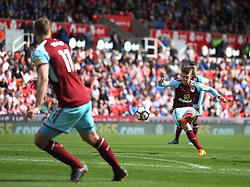 Johann Gudmundsson of Burnley takes a free kick - Mandatory by-line: Jack Phillips/JMP - 22/04/2018 - FOOTBALL - Bet365 Stadium - Stoke-on-Trent, England - Stoke City v Burnley - English Premier League