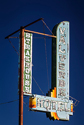 Valverde Hotel and Steakhouse sign, Socorro, New Mexico, USA.