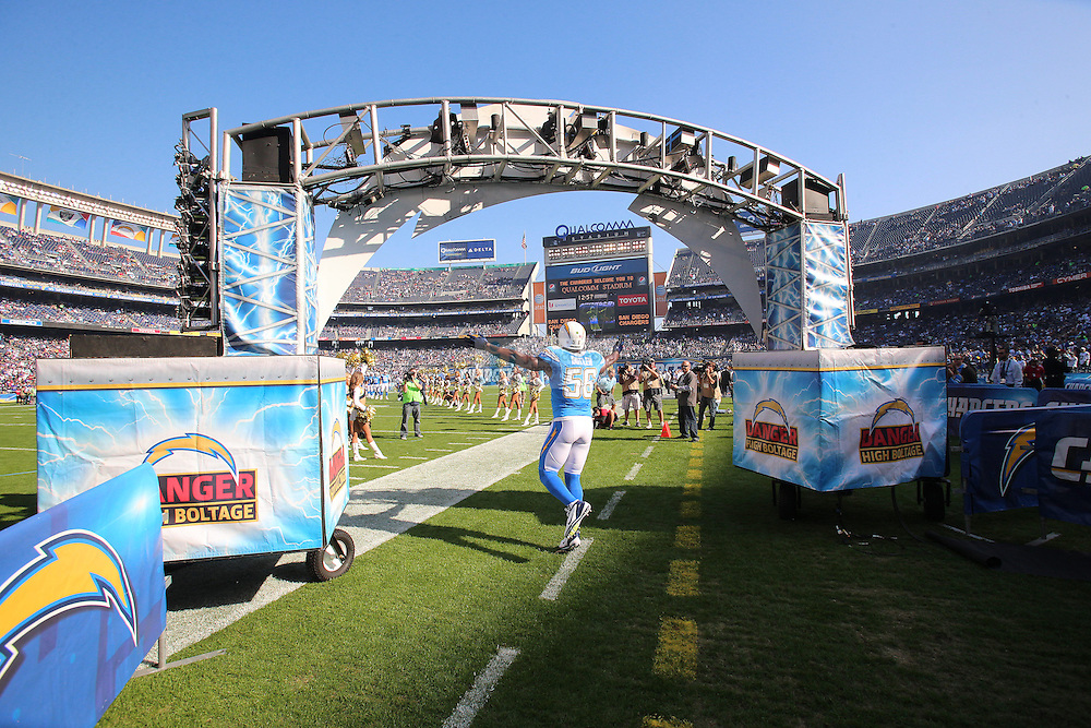 San Diego Chargers linebacker Donald Butler (56) enters the field against the Baltimore Ravens during an NFL game on Sunday, November 25, 2012 in San Diego, CA.  (Photo by Jed Jacobsohn)