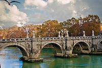 ROME, ITALY - JUNE 03: Illustration of Rome; Italy on June 03, 2012.Rome. Ponte Sant'Angelo - Sant'Angelo Bridge