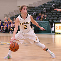 2nd year guard Michaela Kleisinger (2) of the Regina Cougars in action during the home opener  on November  4 at Centre for Kinesiology, Health and Sport. Credit: /Arthur Images