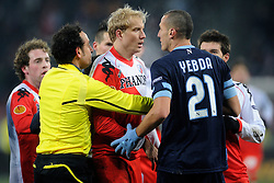02-12-2010 VOETBAL: UTRECHT - NAPOLI: UTRECHT<br />FC Utrecht speelt ook de derde thuiswedstrijd in de Europa League met 3-3 gelijk tegen Napoli / Opstootje met Frank Demouge en Hassan Yebda<br />©2010-WWW.FOTOHOOGENDOORN.NL