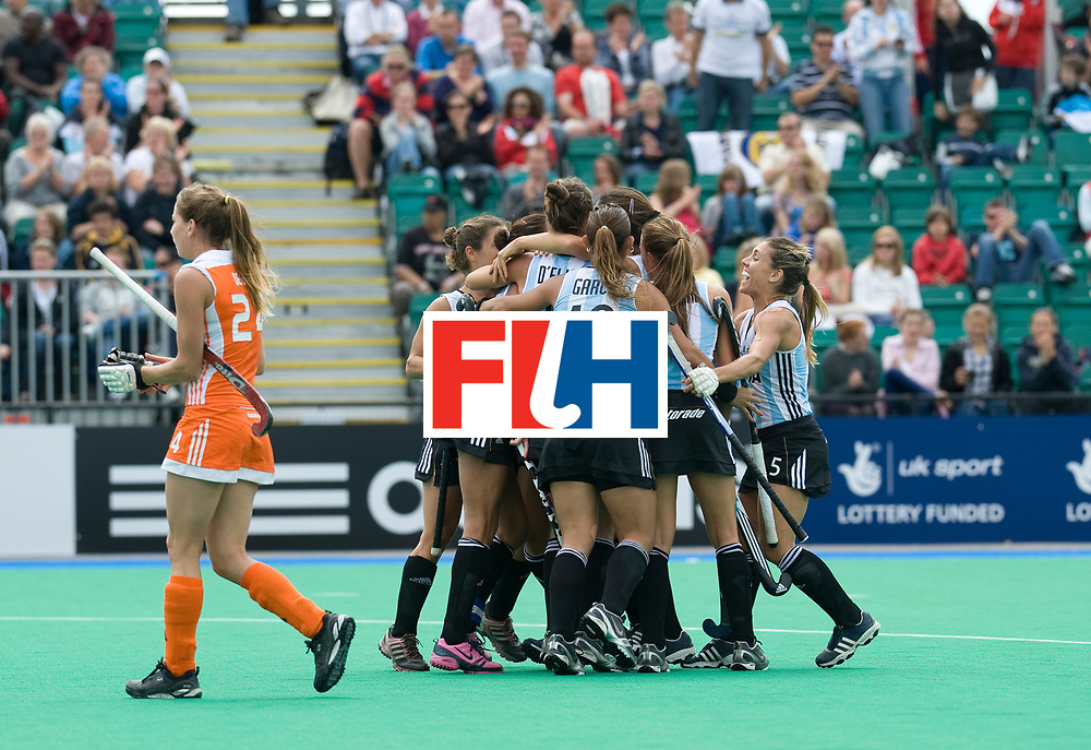Argentina's players celebrate the opening goal during their Women's Champions Trophy Final at Highfields, Beeston, Nottingham, 18th July 2010.