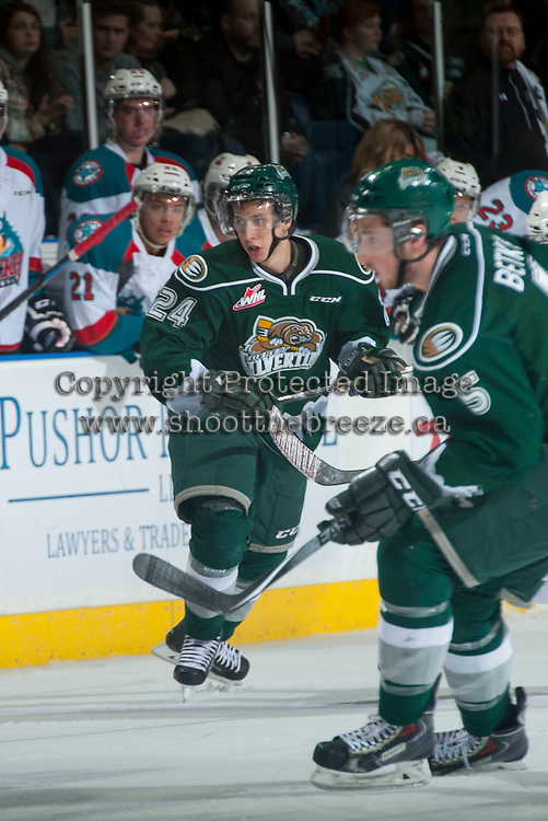 KELOWNA, CANADA - JANUARY 23: Lucas Skrumeda #24 of Everett Silvertips skates against the Kelowna Rockets on January 23, 2015 at Prospera Place in Kelowna, British Columbia, Canada.  (Photo by Marissa Baecker/Shoot the Breeze)  *** Local Caption *** Lucas Skrumeda;
