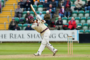 Lewis Gregory of Somerset hits the ball over the boundary for six runs during the third day of the Specsavers County Champ Div 1 match between Somerset County Cricket Club and Yorkshire County Cricket Club at the Cooper Associates County Ground, Taunton, United Kingdom on 29 April 2018. Picture by Graham Hunt.