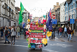 A flag vendors stall in Cardiff High Street<br /> <br /> Photographer Simon King/Replay Images<br /> <br /> Under Armour Series - Wales v Australia - Saturday 10th November 2018 - Principality Stadium - Cardiff<br /> <br /> World Copyright © Replay Images . All rights reserved. info@replayimages.co.uk - http://replayimages.co.uk