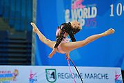 Veronica Bertolini during qualifying at hoop in Pesaro World Cup 10 April, 2015.<br /> Veronica was born in Sondrio October 19, 1995, she is an individual gymnast of the Italian team.