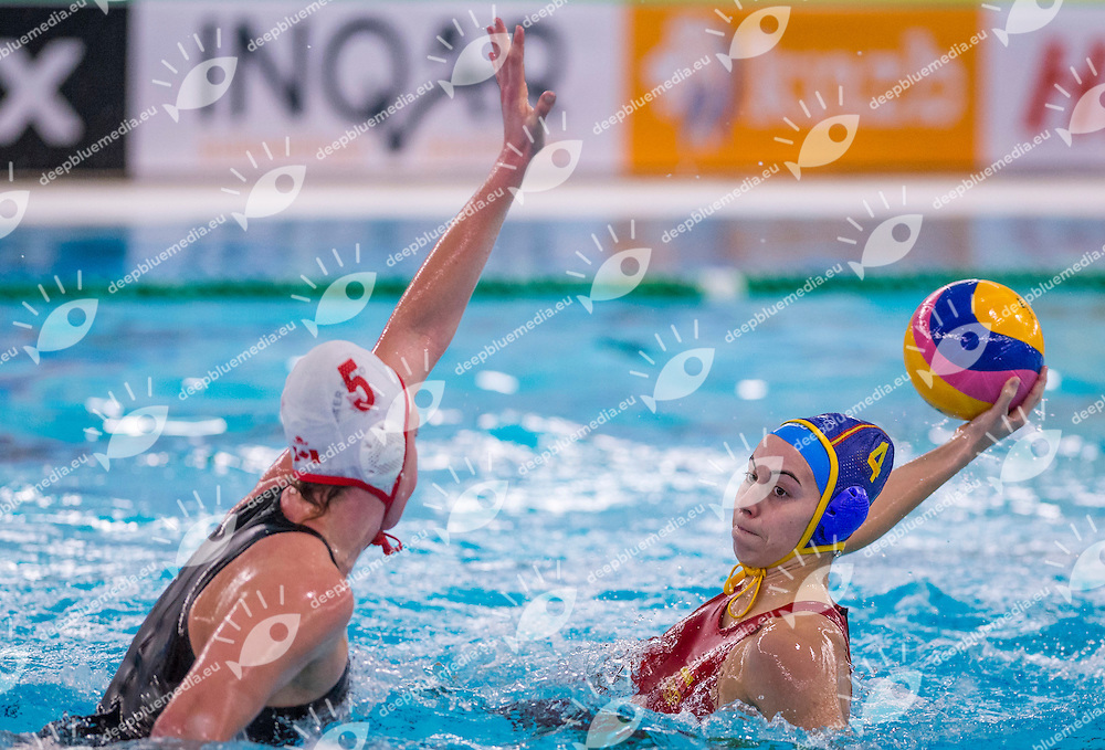 FINA Women's Water polo Olympic Games Qualifications Tournament 2016<br /> Canada CAN (White) Vs Spain ESP (Blue)<br /> 4 Batriz Ortiz ESP<br /> Gouda, Netherlands - Swimming pool Groenhovenbad<br /> Day5 25-03-2016<br /> Photo P. Mesiano/Insidefoto/Deepbluemedia