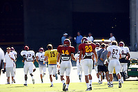21 August 2008: #14 Garrett Green and Jordan Campbell Cameron walk off the field after the  USC Trojans Pac-10 NCAA College football team final intrasquad scrimmage of fall camp in front of 8,000 fans in the Los Angeles Memorial Coliseum near school campus.  White team (1st and 2nd teamers) defeated the Cardinal (reserves) team 28-7 on Thursday.