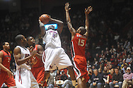 """Ole MIss forward Reginald Buckner (2) is defended by Georgia's Donte' Williams (15) at the C.M. """"Tad"""" Smith Coliseum in Oxford, Miss. on Saturday, January 15, 2011. Georgia won 98-76.  (AP Photo/Oxford Eagle, Bruce Newman)"""