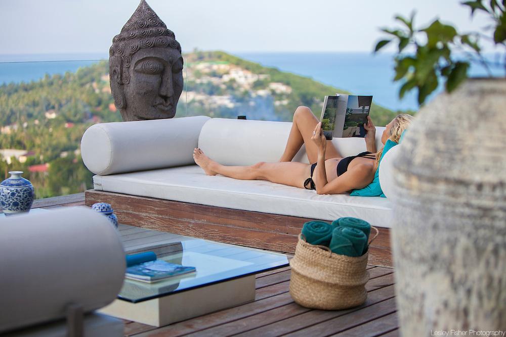 Outdoor pool lounge at Villa Belle a Luxury, private villa on Koh Samui, Thailand