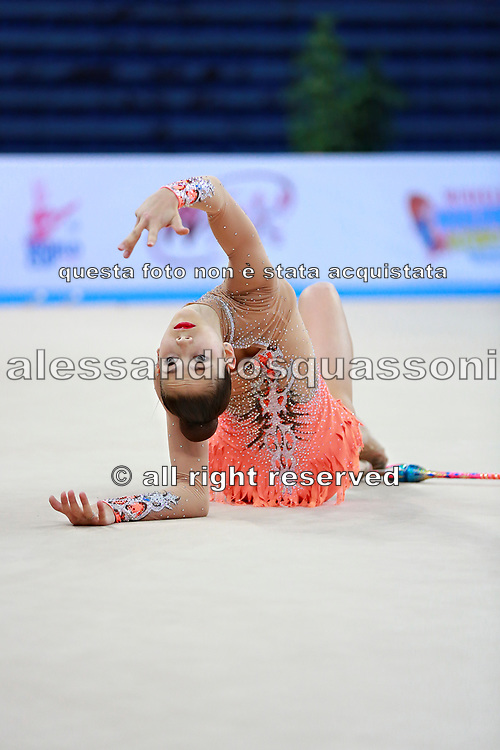 Berezina Polina during qualifying clubs in Pesaro World Cup 11 April 2015.<br />