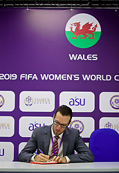 ASTANA, KAZAKHSTAN - Sunday, September 17, 2017: Wales' press officer Ben Donovan during the FIFA Women's World Cup 2019 Qualifying Round Group 1 match between Kazakhstan and Wales at the Astana Arena. (Pic by David Rawcliffe/Propaganda)