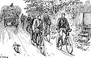 A British cycle club out for a country ride. Man in front right is riding a machine of the Rover safety type, while man following is on an earlier type, the Kangaroo. From 'Cycling' Badmington Library, London 1895. Engraving