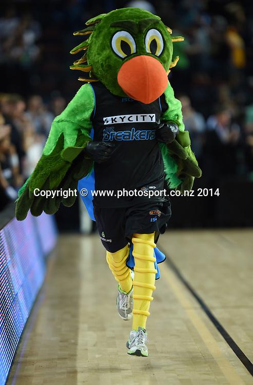 Cheeky. SkyCity Breakers v Adelaide 36ers. 2014/15 ANBL Basketball Season. Vector Arena, Auckland, New Zealand. Friday 17 October 2014. Photo: Andrew Cornaga / www.photosport.co.nz