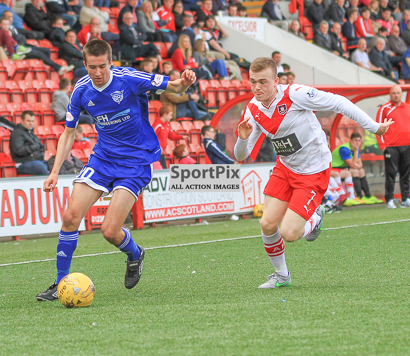 Airdrieonians V Peterhead  Scottish League One 29 August 2015;  Peterhead's Cammy Kerr and Airdrie's Liam Watt during the Airdrieonians V Peterhead Ladbrokes Scottish League One match played at Excelsior Stadium, Airdrie.