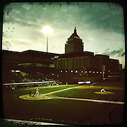 An instagram photograph taken with an iPhone of Frontier Field showing the Kodak building in the background during the Rochester Red Wings V The Scranton/Wilkes-Barre RailRiders, Minor League ball game at Frontier Field, Rochester, New York State. USA. 16th April 2013. Photo Tim Clayton