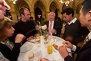 Vienna, Austria. Cocktail reception hosted by Mayor Michael Häupl at City Hall for international scientists and researchers living and working in Vienna.<br /> Michael Häupl, Mayor of Vienna (red tie).