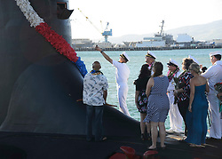 PEARL HARBOR, Hawaii (Nov. 25, 2014) Capt. Harry Ganteaume, commodore of Submarine Squadron (SUBRON) 1, participates in a traditional Hawaiian blessing ceremony of the Virginia-class attack submarine USS Mississippi (SSN 782) upon the ship's arrival at Joint Base Pearl Harbor-Hickam. Mississippi is changing homeport from Commander, Submarine Squadron 4 in Groton, Conn. to Commander, Submarine Squadron 1. Mississippi makes is the 4th Virginia-class submarine to be home ported in Pearl Harbor, and one of 18 attack submarines permanently homeported at the historic base. (U.S. Navy photo by Mass Communication Specialist 1st Class Steven Khor/Released) 141125-N-DB801-373<br /> Join the conversation:<br /> http://www.navy.mil/viewGallery.asp<br /> http://www.facebook.com/USNavy<br /> http://www.twitter.com/USNavy<br /> http://navylive.dodlive.mil<br /> http://pinterest.com<br /> https://plus.google.com