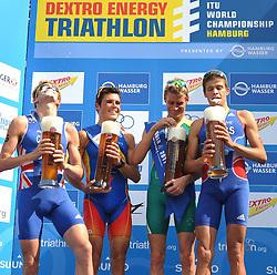 16.07.2011, Hamburg, GER, Dextro Energy Triathlon ITU World Championship Series, Elite men, im Bild Sieger Brad Kahlefeldt (AUS) jubelt bei der Siegerehrung mit dem Zweitplatzierten William Clarke (GBR) und dem Drittplatzierten David Hauss (FRA) .Javier Gomez (ESP) fuehrt die Gesamtliste der Triathleten an .alle trinken zusammen ihr Siegerbier.EXPA Pictures © 2011, PhotoCredit: EXPA/ nph/  Witke       ****** out of GER / CRO  / BEL ******