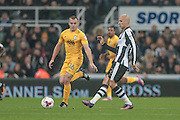 Jonjo Shelvey (Newcastle United) passes the ball out to the wing, having come on as a tactical replacement due to Newcastle having a man sent off in the first half of the EFL Cup 4th round match between Newcastle United and Preston North End at St. James's Park, Newcastle, England on 25 October 2016. Photo by Mark P Doherty.
