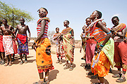Members of the Samburu tribe in a traditional dance, Kenya
