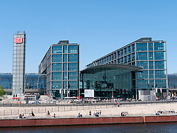 Exterior view of modern Berlin Main Railway station or Hauptbahnhof in Germany
