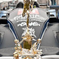 The World Endurance Championship trophy, in front of the Strakka Racing LMP1 at the FIA-WEC series launch situated in Potters Fields overlooking Tower Bridge, London on the 22nd March 2013. WAYNE NEAL | STOCKPIX.EU
