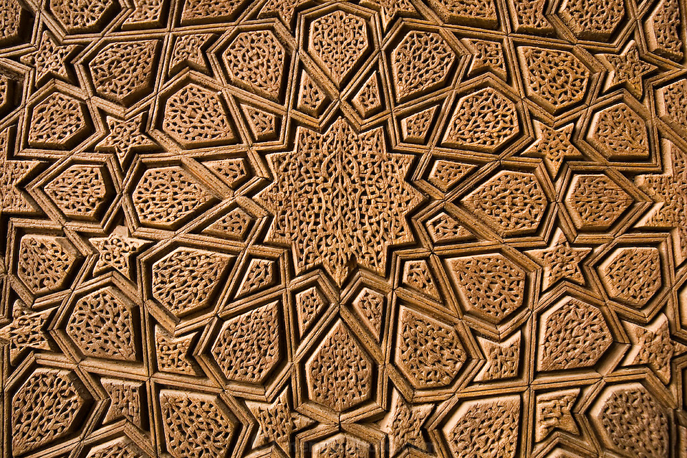 "Carved wooden door of Jameh Mosque, Yazd, Iran. Jameh (sometimes spelled Jamah) means ""Friday.""."