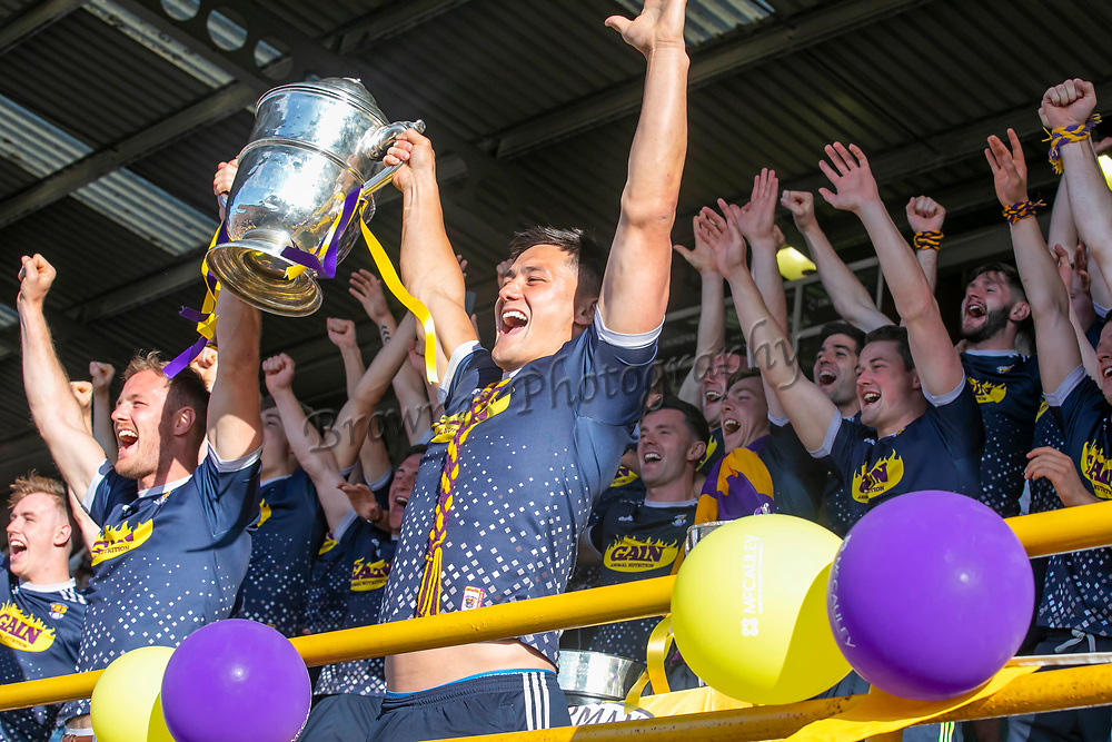 01/07/2019. Wexford GAA Homecoming at Innovate Wexford Park where the Senior Leinster Hurling and Minor Champions and the Ladies Football winners arrived to a large crowd. Pictured are the Wexford Senior team Leinster Champions Picture: Patrick Browne