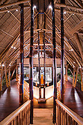 The interior of the Sakti Restaurant reveals an intricate forest of giant bamboo.