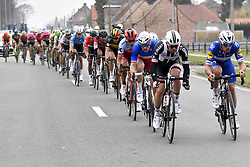 March 25, 2018 - Wevelgem, BELGIUM - Belgian Greg Van Avermaet of BMC Racing Team, Belgian Oliver Naesen of AG2R La Mondiale, Belgian Philippe Gilbert of Quick-Step Floors, Russian Viacheslav Kuznetsov of Katusha-Alpecin, French Arnaud Demare of FDJ and Australian Michael Matthews of Team Sunweb pictured in action during the 80th edition of the Gent-Wevelgem cycling race, 251,1 km from Deinze, near Gent, to Wevelgem, Sunday 25 March 2018. BELGA PHOTO DIRK WAEM (Credit Image: © Dirk Waem/Belga via ZUMA Press)
