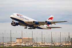 A British Airways Airbus A380 takes off at London's Heathrow Airport (LHR / EGLL).