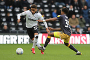 Derby County defender Jayden Bogle and Sheffield Wednesday midfielder Rolando Aarons during the EFL Sky Bet Championship match between Derby County and Sheffield Wednesday at the Pride Park, Derby, England on 9 March 2019.