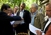 19.MAY.2012. MARYLAND<br /> <br /> PRESIDENT BARACK OBAMA TALKS WITH JOSÉ MANUEL BARROSO, PRESIDENT OF THE EUROPEAN COMMISSION, CHANCELLOR ANGELA MERKEL OF GERMANY, PRIME MINISTER MARIO MONTI OF ITALY, PRESIDENT FRANÇOIS HOLLANDE OF FRANCE, AND HERMAN VAN ROMPUY, PRESIDENT OF THE EUROPEAN COUNCIL, ON THE LAUREL CABIN PATIO BEFORE THE START OF A G8 SUMMIT WORKING SESSION AT CAMP DAVID, MARYLAND. MIKE FROMAN, DEPUTY NSA FOR INTERNATIONAL AND ECONOMIC AFFAIRS, LISTENS IN THE BACKGROUND, THIRD FROM LEFT.<br /> <br /> BYLINE: EDBIMAGEARCHIVE.CO.UK<br /> <br /> *THIS IMAGE IS STRICTLY FOR UK NEWSPAPERS AND MAGAZINES ONLY*<br /> *FOR WORLD WIDE SALES AND WEB USE PLEASE CONTACT EDBIMAGEARCHIVE - 0208 954 5968*