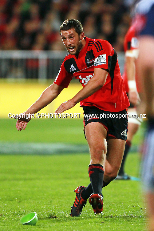 Crusaders player Tom Taylor taking a place kick. Super Rugby game between the Crusaders and the Stormers. Crusaders new Christchurch Stadium at Rugby League Park, Saturday 14 April 2012. Photo : Joseph Johnson / photosport.co.nz