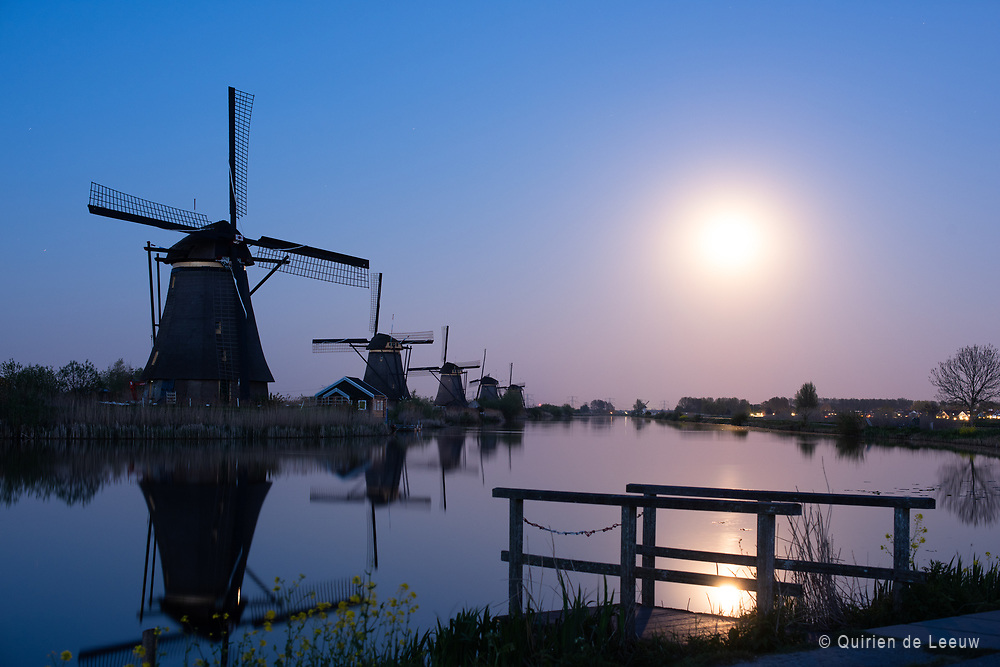 18th century windmills at Kinderdijk village, South Holland province in the Netherlands. Traditional watermanagement windmills and iconic UNESCO World Heritage.