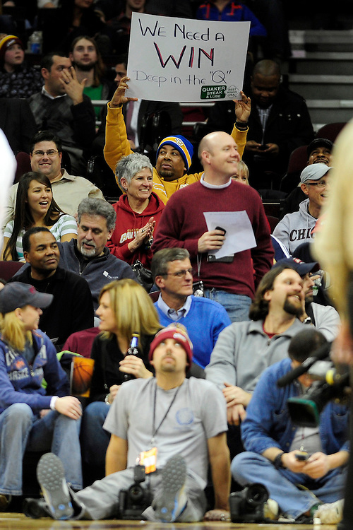"Feb. 2, 2011; Cleveland, OH, USA; A Cleveland Cavaliers holds a sign reading ""We Need a Win"" during the third quarter against the Indiana Pacers at Quicken Loans Arena. The Pacers beat the Cavaliers 117-112. Mandatory Credit: Jason Miller-US PRESSWIRE"
