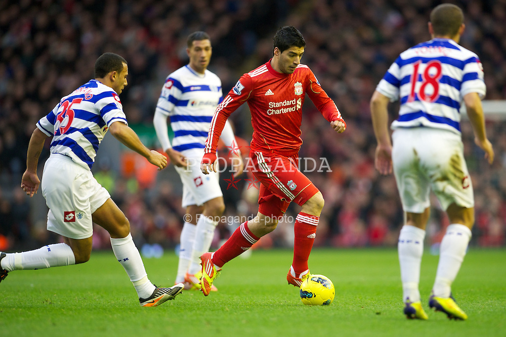 LIVERPOOL, ENGLAND - Saturday, December 10, 2011: Liverpool's Luis Alberto Suarez Diaz in action against Queens Park Rangers during the Premiership match at Anfield. (Pic by David Rawcliffe/Propaganda)