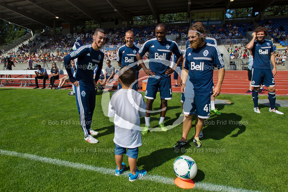 22 July  2013: Major League Soccer (MLS) - Vancouver Whitecaps FC hold open training Session for fans at Swangard Stadium in Vancouver, BC.  ****(Photo by Bob Frid - Vancouver Whitecaps) All Rights Reserved