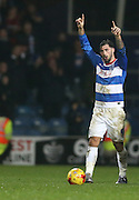 Queens Park Rangers striker Charlie Austin (9) goal celebration during the Sky Bet Championship match between Queens Park Rangers and Brighton and Hove Albion at the Loftus Road Stadium, London, England on 15 December 2015.