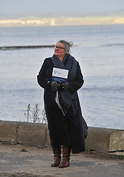 Gillian Barclay from Burntisland, whose 18 year old son Cameron Lancaster drowned at a disused quarry in Inverkeithing in 2014, launches the Drowning Prevention Strategy at Crammond Beach. The strategy aims to half the number of accidental drownings in Scotland by 2026.<br /> <br /> &copy; Dave Johnston/ EEm
