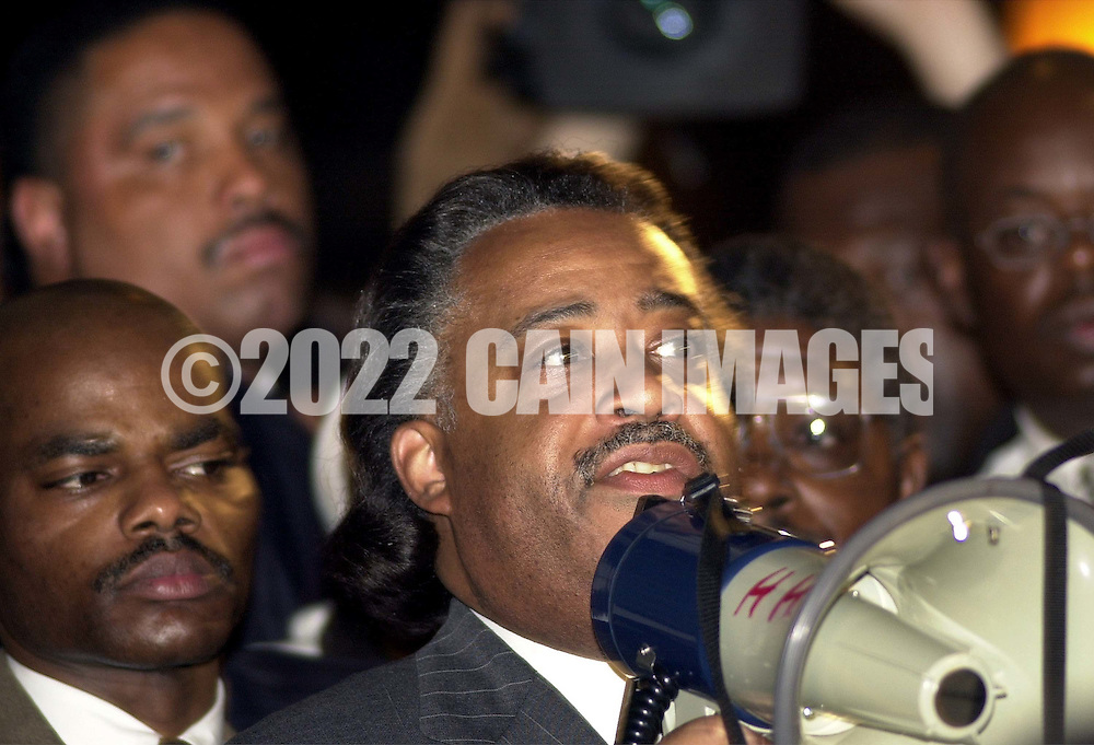 Rev. Al Sharpton speaks at a protest of the July 12 beating of Thomas Jones by city police officers attempting to arrest the carjacking suspect, Sunday, July 23, 2000, in Philadelphia. The beating incident was videotaped by a local television station helicopter, and broadcast around the world, shedding a bad light on the city of Philadelphia two weeks before the Republican National Convention. MANDATORY CREDIT:  (Photo by William Thomas Cain/Photojournalist,cc)