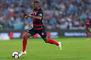 SYDNEY, AUSTRALIA - APRIL 13: Western Sydney Wanderers midfielder Roly Bonevacia (28) dribbles the ball at round 25 of the Hyundai A-League Soccer between Western Sydney Wanderers and Sydney FC  on April 13, 2019 at ANZ Stadium in Sydney, Australia. (Photo by Speed Media/Icon Sportswire)