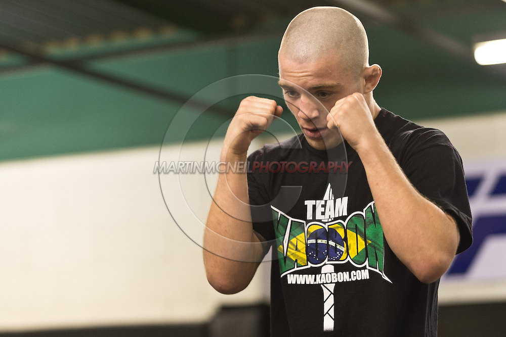 "NOTTINGHAM, ENGLAND, SEPTEMBER 26, 2012: Andy Ogle attends the open work-out sessions ahead of ""UFC on Fuel TV 5: Struve vs. Miocic"" inside Gym Combat in Nottingham, United Kingdom on Wednesday, September 26, 2012 © Martin McNeil"