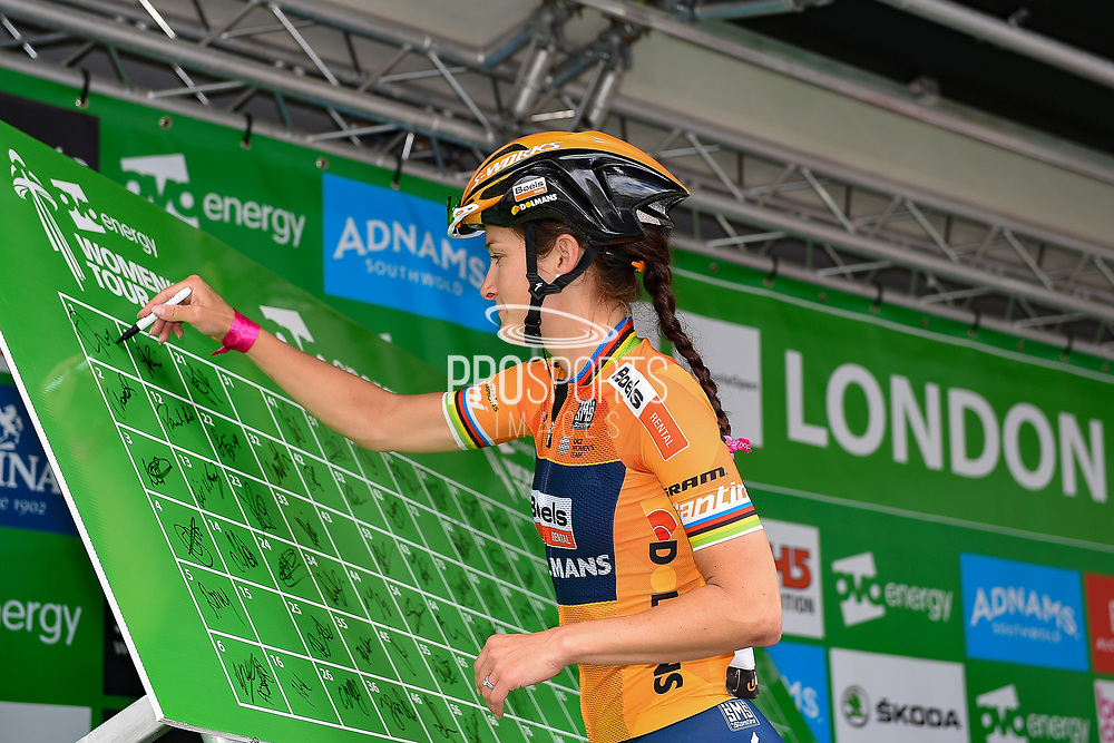 Lizzie Deigan (GBR) riding for Boels Dolmans Cycling Team signs-on  before the start of the OVO Energy Women's Tour, London Stage, at Regent Street, London, United Kingdom on 11 June 2017. Photo by Martin Cole.