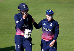 Centurions Sarah Taylor and Tammy Beaumont of England Women celebrate after their side's win over South Africa Women - Mandatory by-line: Robbie Stephenson/JMP - 05/07/2017 - CRICKET - County Ground - Bristol, United Kingdom - England Women v South Africa Women - ICC Women's World Cup Group Stage