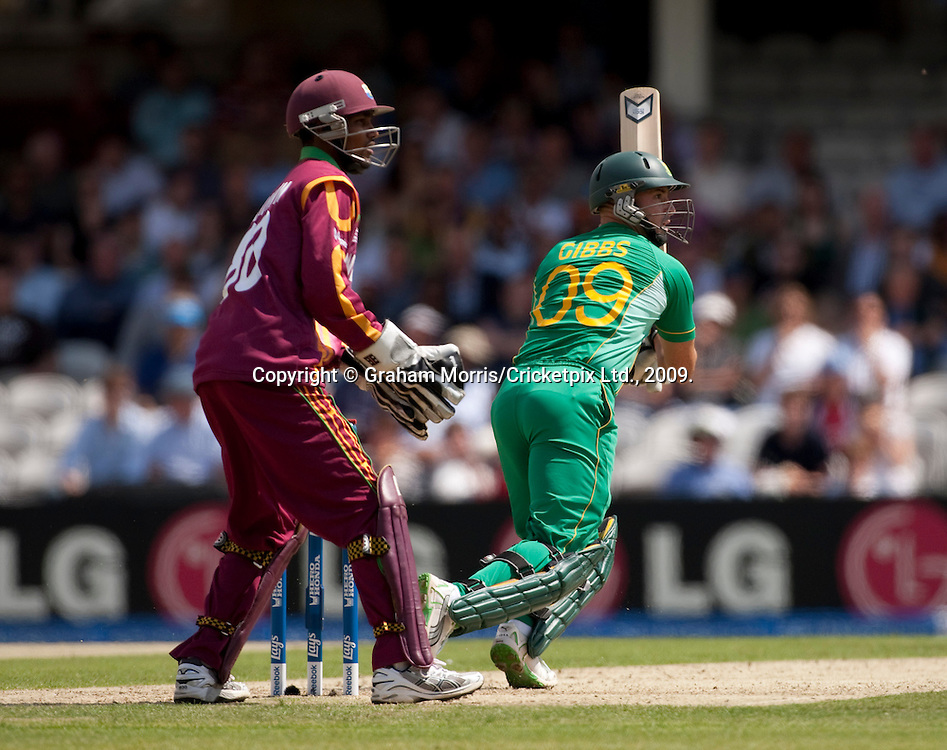 Herschelle Gibbs bats during the ICC World Twenty20 Cup match between South Africa and West Indies at the Oval. Photo © Graham Morris (Tel: +44(0)20 8969 4192 Email: sales@cricketpix.com)
